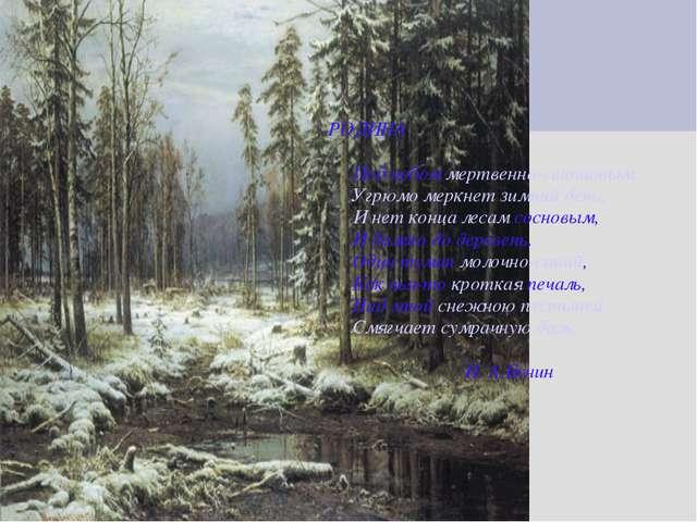 РОДИНА Под небом мертвенно-свинцовым Угрюмо меркнет зимний день, И нет конца...