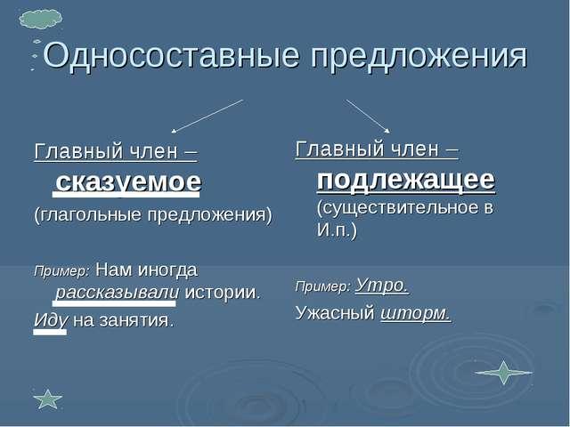 Односоставные предложения Главный член – сказуемое (глагольные предложения) П...