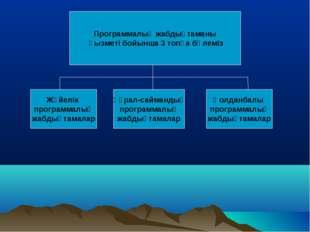 Программалық жабдықтаманы қызметі бойынша 3 топқа бөлеміз Жүйелік программалы