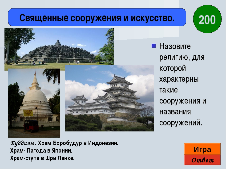Назовите религию, для которой характерны такие сооружения и названия сооружен...