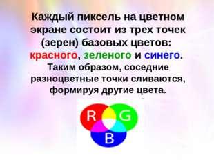 Каждый пиксель на цветном экране состоит из трех точек (зерен) базовых цветов