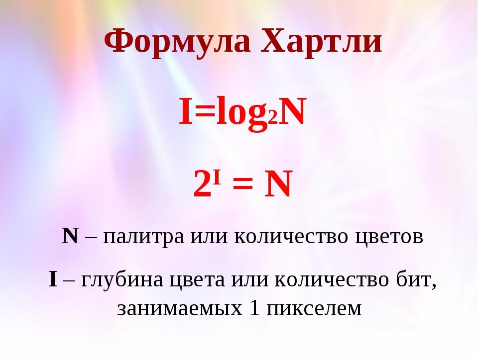 Формула Хартли I=log2N 2I = N N – палитра или количество цветов I – глубина ц...