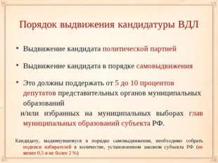 Порядок выдвижения кандидатуры ВДЛ Выдвижение кандидата политической партией
