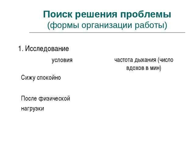 Поиск решения проблемы (формы организации работы) 1. Исследование условиячас...