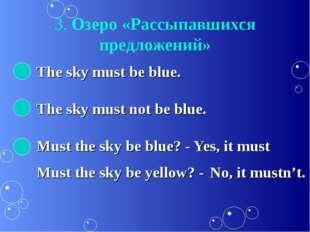 3. Озеро «Рассыпавшихся предложений» The sky must be blue. The sky must not b