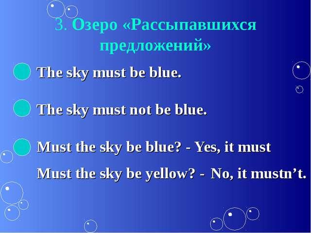 3. Озеро «Рассыпавшихся предложений» The sky must be blue. The sky must not b...