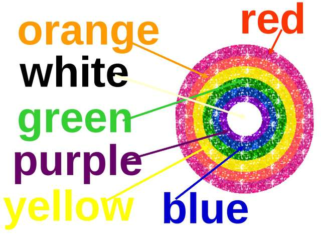 red orange yellow green purple blue white