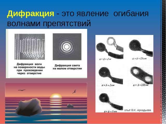 Дифракция - это явление огибания волнами препятствий опыт В.К.Аркадьева