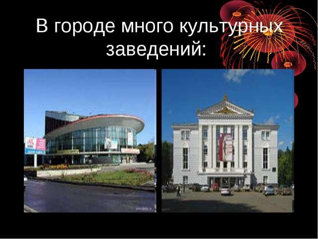 В городе много культурных заведений: