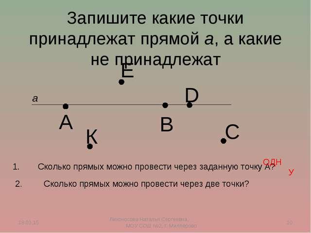 Запишите какие точки принадлежат прямой а, а какие не принадлежат а А В С D Е...