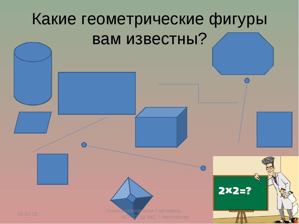 Какие геометрические фигуры вам известны? * * Лихоносова Наталья Сергеевна, М...