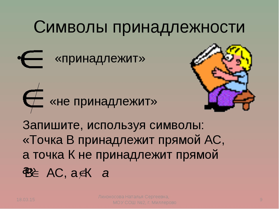 Символы принадлежности «принадлежит» «не принадлежит» Запишите, используя сим...