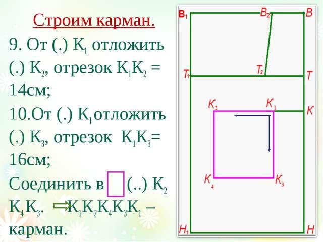 Строим карман. 9. От (.) К1 отложить (.) К2, отрезок К1К2 = 14см; 10.От (.) К...