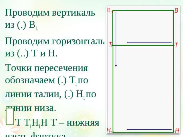Проводим вертикаль из (.) В1. Проводим горизонталь из (..) Т и Н. Точки перес...