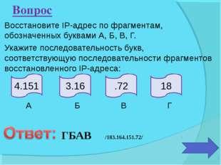 Восстановите IP-адрес по фрагментам, обозначенных буквами А, Б, В, Г. Укажите