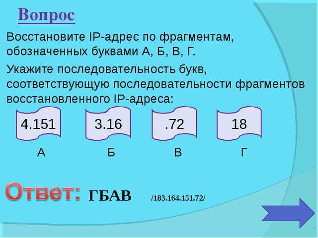 Восстановите IP-адрес по фрагментам, обозначенных буквами А, Б, В, Г. Укажите...
