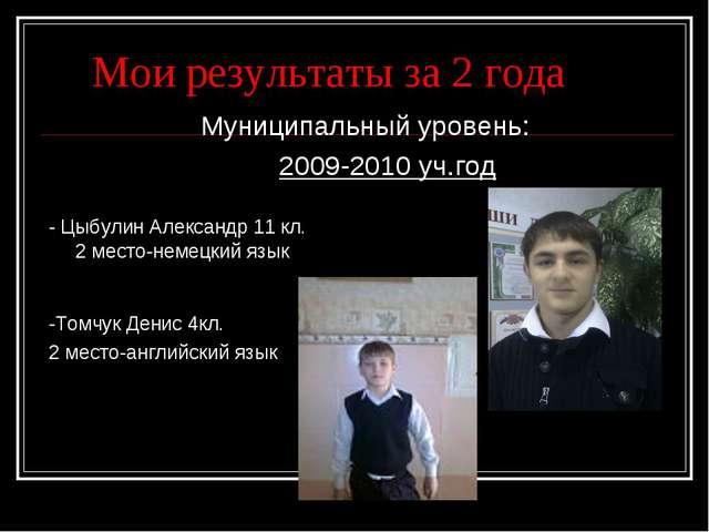 Мои результаты за 2 года Муниципальный уровень: 2009-2010 уч.год - Цыбулин А...