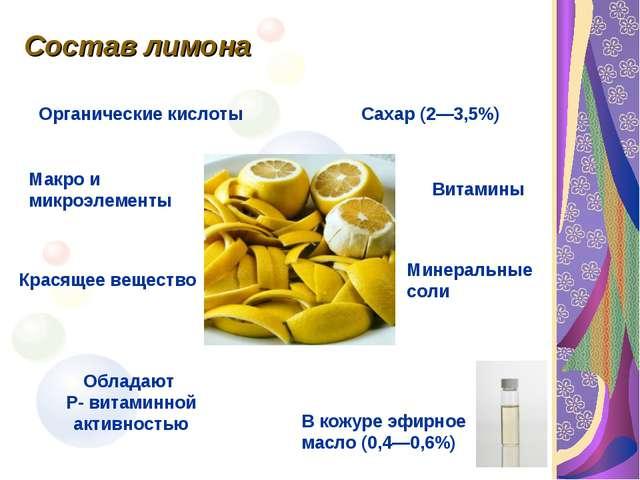 Состав лимона В кожуре эфирное масло (0,4—0,6%) Сахар (2—3,5%) Органические к...