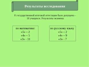 Результаты исследования по математике: «5» – 2 «4» – 5 «3» - 11 по русскому я