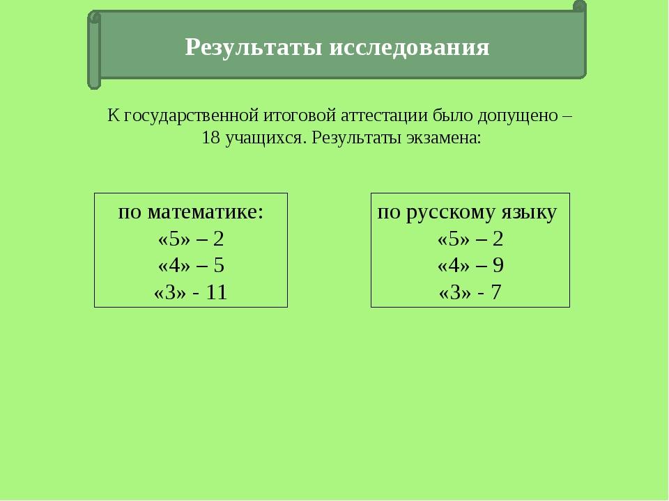 Результаты исследования по математике: «5» – 2 «4» – 5 «3» - 11 по русскому я...
