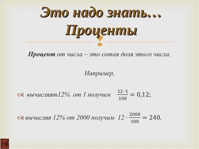 Это надо знать… Проценты