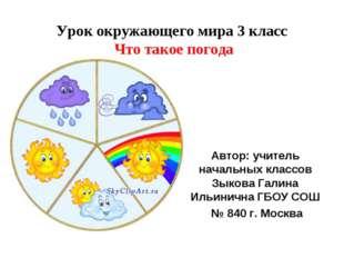 Урок окружающего мира 3 класс Что такое погода Автор: учитель начальных класс
