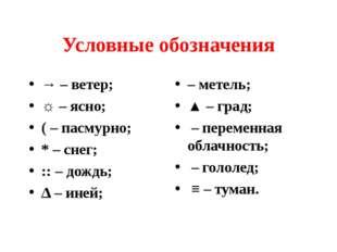Условные обозначения → – ветер; ☼ – ясно; ( – пасмурно; * – снег; :: – дождь;
