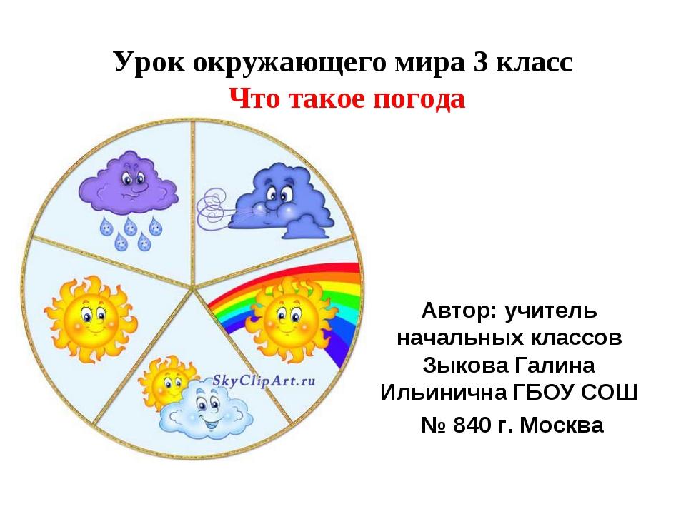 Урок окружающего мира 3 класс Что такое погода Автор: учитель начальных класс...
