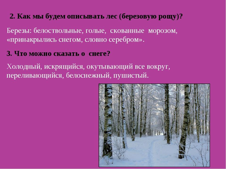 2. Как мы будем описывать лес (березовую рощу)? Березы: белоствольные, голые,...