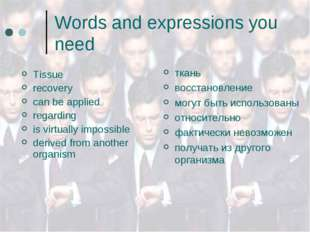 Words and expressions you need Tissue recovery can be applied regarding is vi
