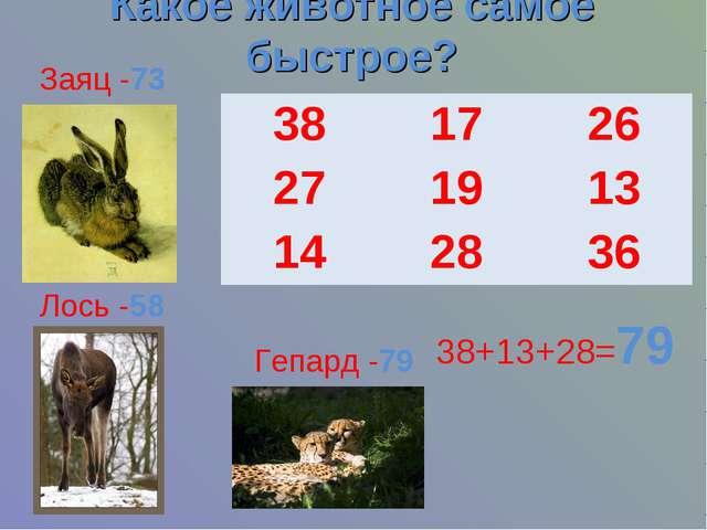 Какое животное самое быстрое? 38+13+28=79 Гепард -79 Лось -58 Заяц -73 3817...