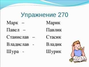 Упражнение 270 Марк – Павел – Станислав – Владислав - Шура - Марик Павлик Ста