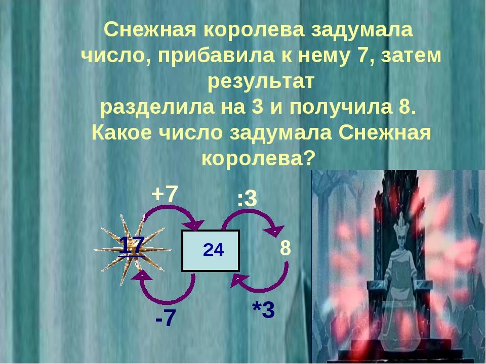 Снежная королева задумала число, прибавила к нему 7, затем результат разделил...