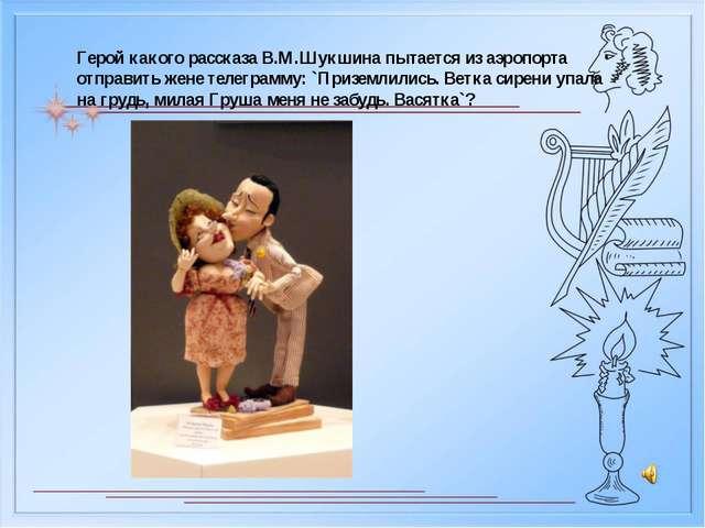 Герой какого рассказа В.М.Шукшина пытается из аэропорта отправить жене телегр...