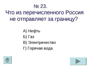 № 23. Что из перечисленного Россия не отправляет за границу? А) Нефть Б) Газ