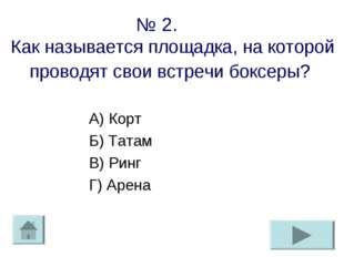 № 2. Как называется площадка, на которой проводят свои встречи боксеры? А) Ко