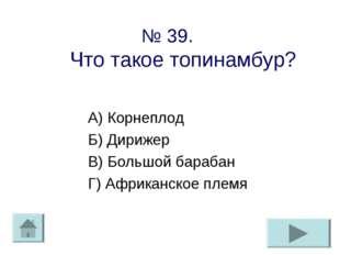 № 39. Что такое топинамбур? А) Корнеплод Б) Дирижер В) Большой барабан Г) Афр