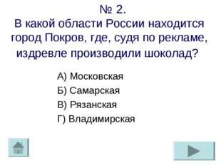 № 2. В какой области России находится город Покров, где, судя по рекламе, из