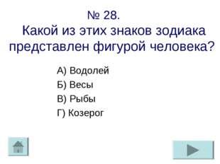 № 28. Какой из этих знаков зодиака представлен фигурой человека? А) Водолей Б