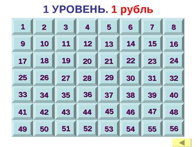 1 УРОВЕНЬ. 1 рубль 1 2 3 4 5 6 7 8 9 10 11 12 13 14 15 16 17 18 19 20 21 22 2...