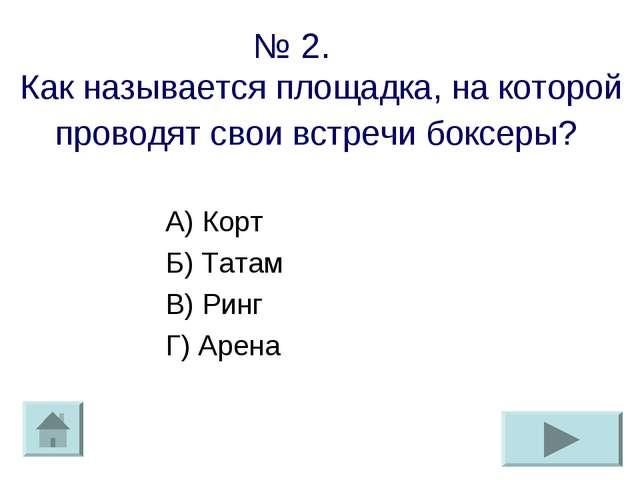 № 2. Как называется площадка, на которой проводят свои встречи боксеры? А) Ко...