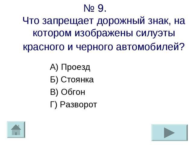 № 9. Что запрещает дорожный знак, на котором изображены силуэты красного и че...
