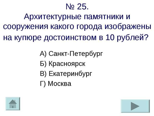 № 25. Архитектурные памятники и сооружения какого города изображены на купюр...