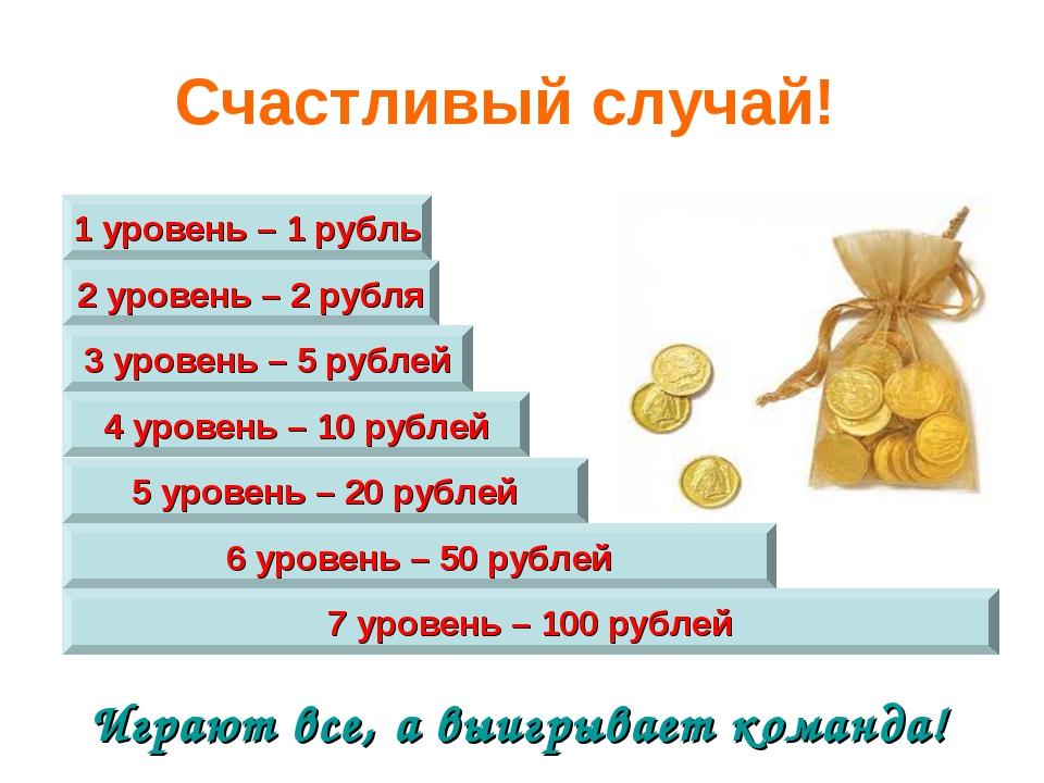 Играют все, а выигрывает команда! 7 уровень – 100 рублей 5 уровень – 20 рубле...