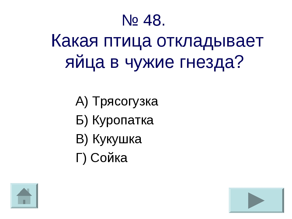 № 48. Какая птица откладывает яйца в чужие гнезда? А) Трясогузка Б) Куропатка...