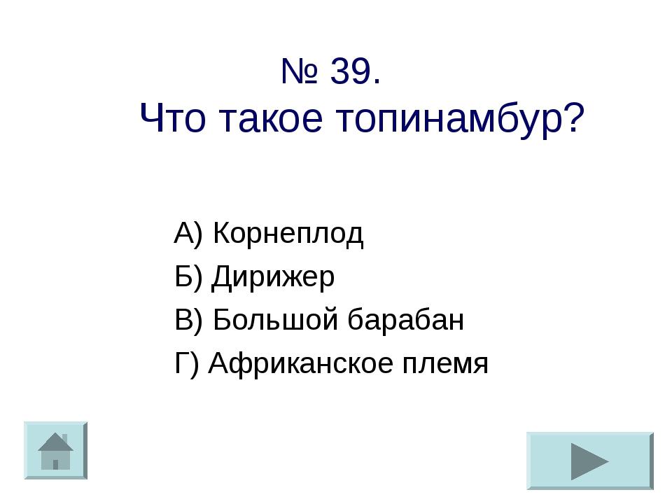 № 39. Что такое топинамбур? А) Корнеплод Б) Дирижер В) Большой барабан Г) Афр...