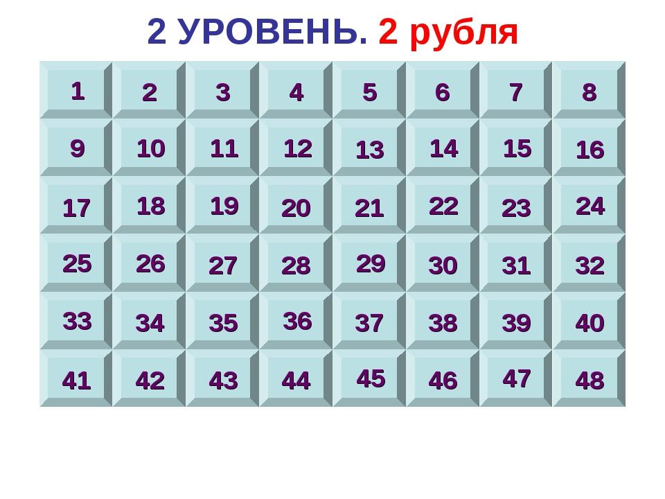 2 УРОВЕНЬ. 2 рубля 1 2 3 4 5 6 7 8 9 10 11 12 13 14 15 16 17 18 19 20 21 22 2...
