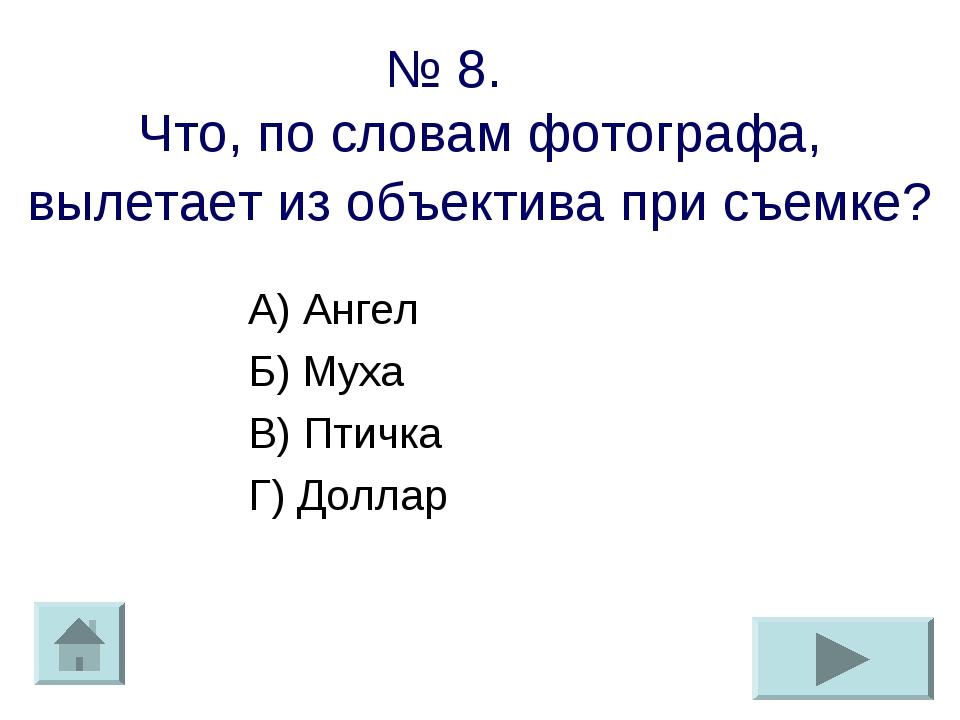 № 8. Что, по словам фотографа, вылетает из объектива при съемке? А) Ангел Б)...