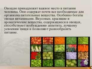 Овощам принадлежит важное место в питании человека. Они содержат почти все не