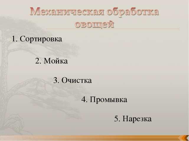 1. Сортировка 2. Мойка 3. Очистка 4. Промывка 5. Нарезка